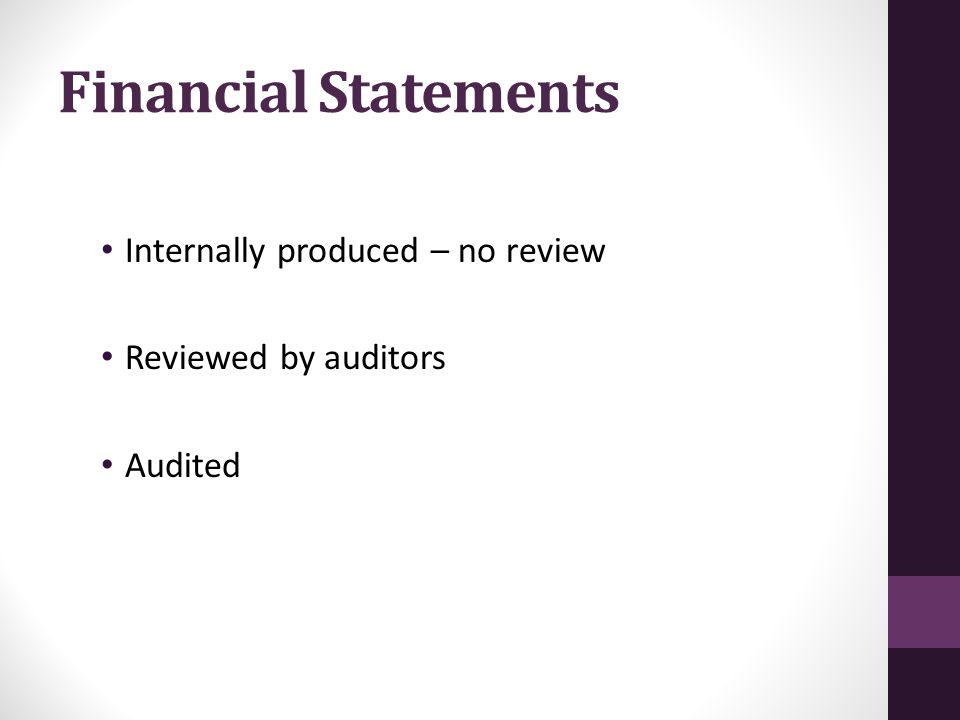 Financial Statements Internally produced – no review Reviewed by auditors Audited