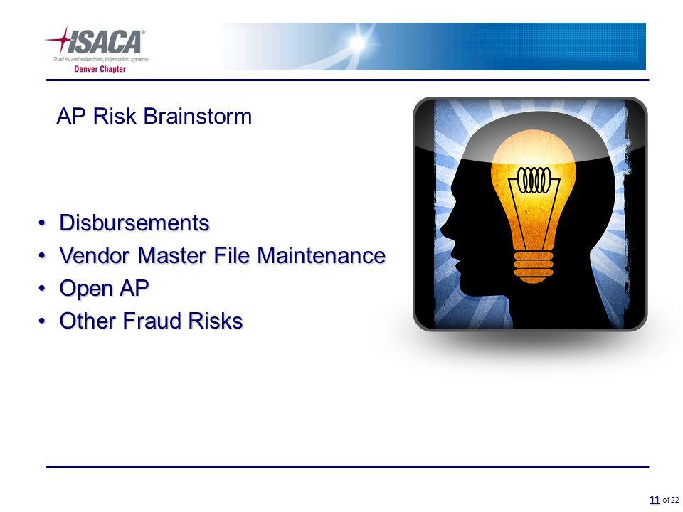 11 11 of 22 AP Risk Brainstorm DisbursementsDisbursements Vendor Master File MaintenanceVendor Master File Maintenance Open APOpen AP Other Fraud RisksOther Fraud Risks