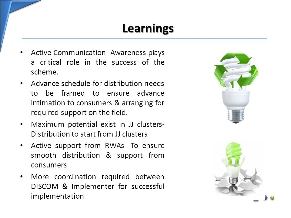 Learnings Active Communication- Awareness plays a critical role in the success of the scheme.