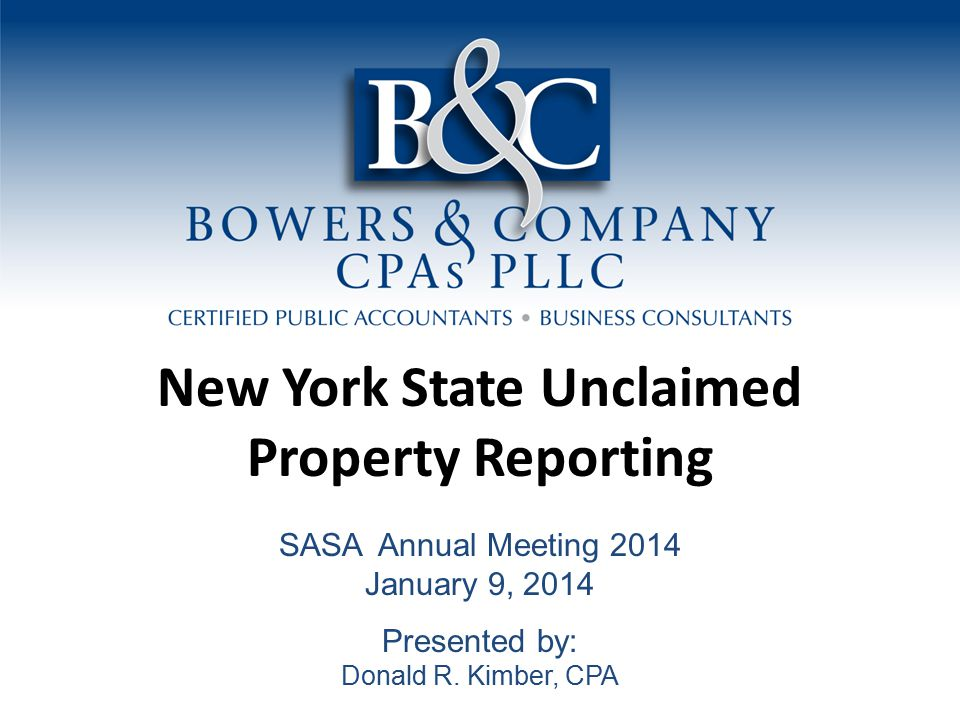 New York State Unclaimed Property Report Agenda Overview The Reporting Process Important Considerations Voluntary Compliance Mailing Requirements Complete Report Verification and Checklist Calendar of Events and Property Type Tables Property Table Types Frequently Asked Questions 1