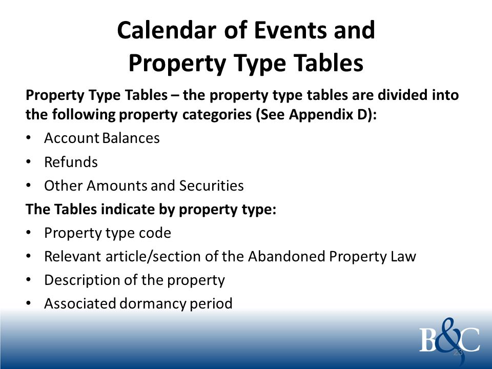 Calendar of Events and Property Type Tables Property Type Tables – the property type tables are divided into the following property categories (See Ap