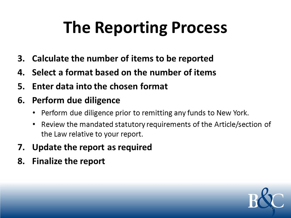 The Reporting Process 3.Calculate the number of items to be reported 4.Select a format based on the number of items 5.Enter data into the chosen forma
