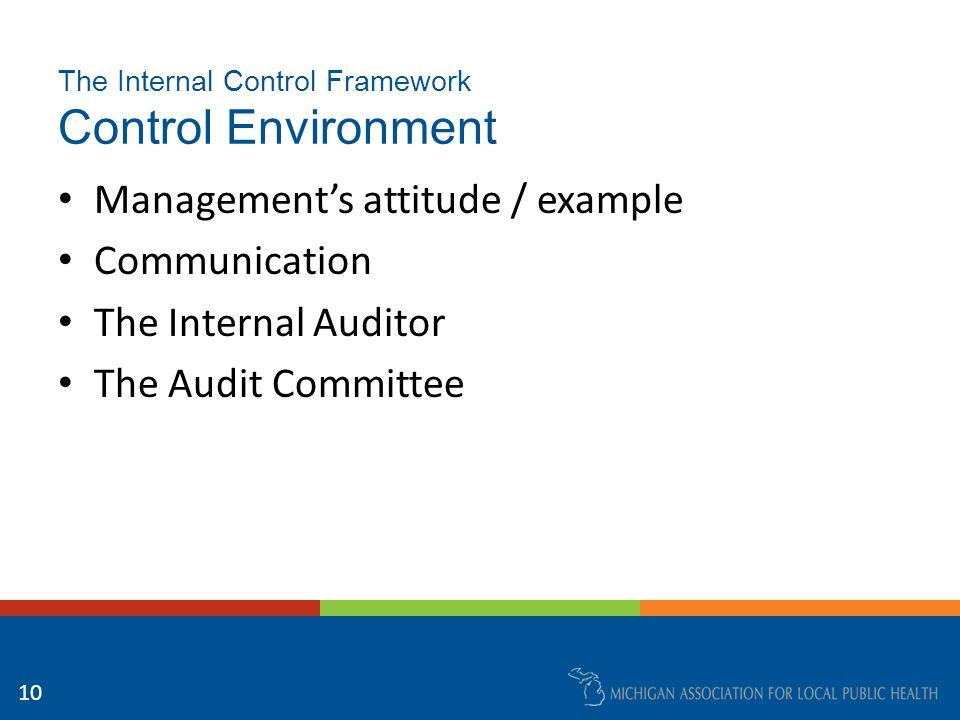 The Internal Control Framework Control Environment Management's attitude / example Communication The Internal Auditor The Audit Committee 10