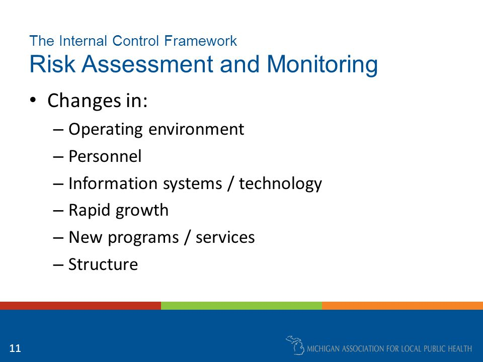 The Internal Control Framework Risk Assessment and Monitoring Inherent risk Prioritization – Significance – Likelihood 12