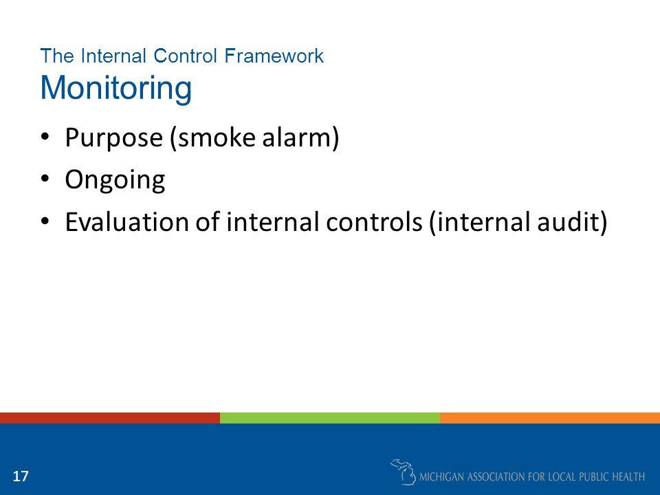 The Internal Control Framework Monitoring Purpose (smoke alarm) Ongoing Evaluation of internal controls (internal audit) 17