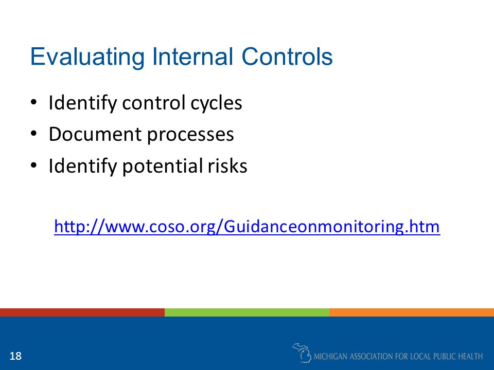Evaluating Internal Controls Identify control cycles Document processes Identify potential risks http://www.coso.org/Guidanceonmonitoring.htm 18