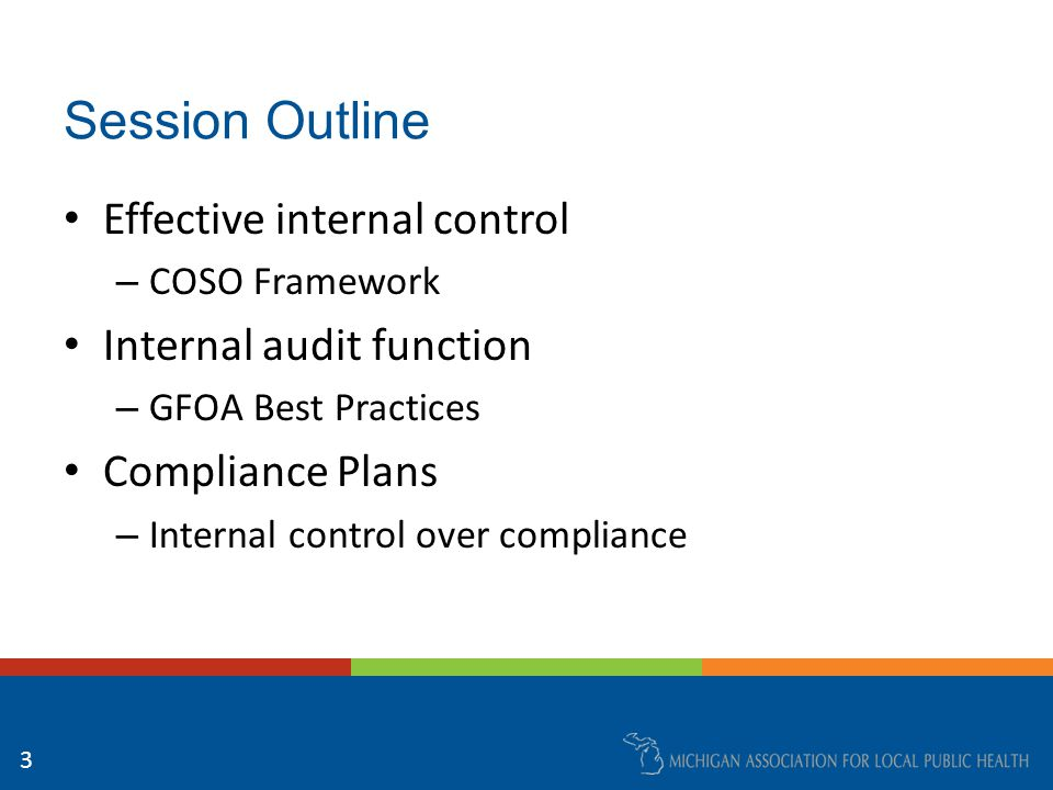 Session Outline Effective internal control – COSO Framework Internal audit function – GFOA Best Practices Compliance Plans – Internal control over compliance 3