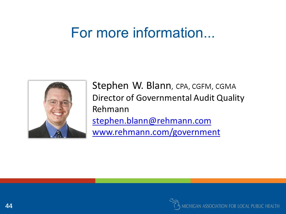 For more information... Stephen W.
