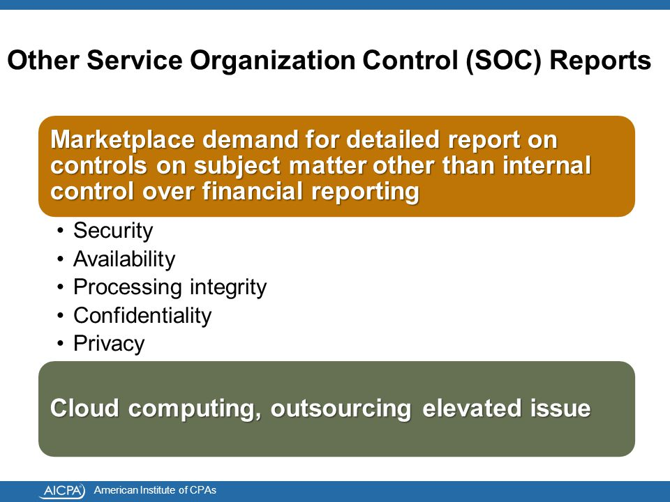 American Institute of CPAs Other Service Organization Control (SOC) Reports Marketplace demand for detailed report on controls on subject matter other than internal control over financial reporting Security Availability Processing integrity Confidentiality Privacy Cloud computing, outsourcing elevated issue
