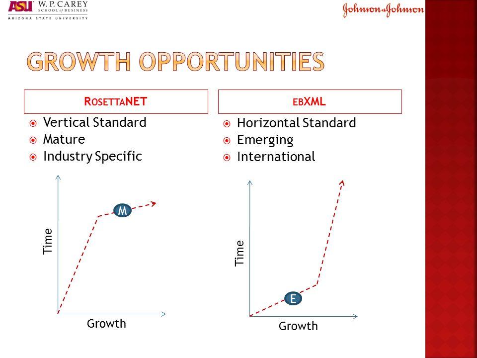 R OSETTA NET EB XML  Vertical Standard  Mature  Industry Specific  Horizontal Standard  Emerging  International GrowthTime Growth Time M E