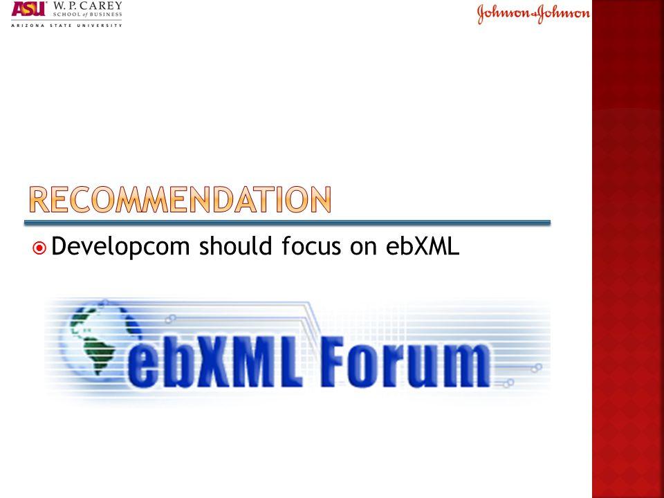  Developcom should focus on ebXML