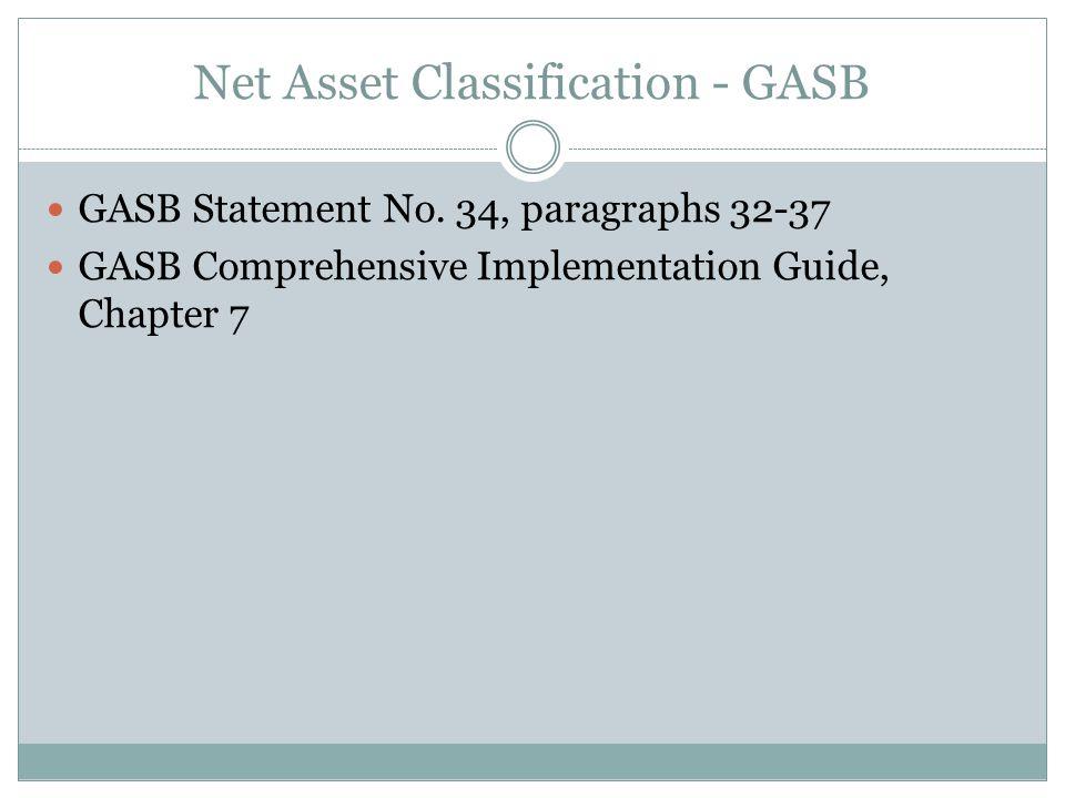 Net Asset Classification - GASB GASB Statement No.