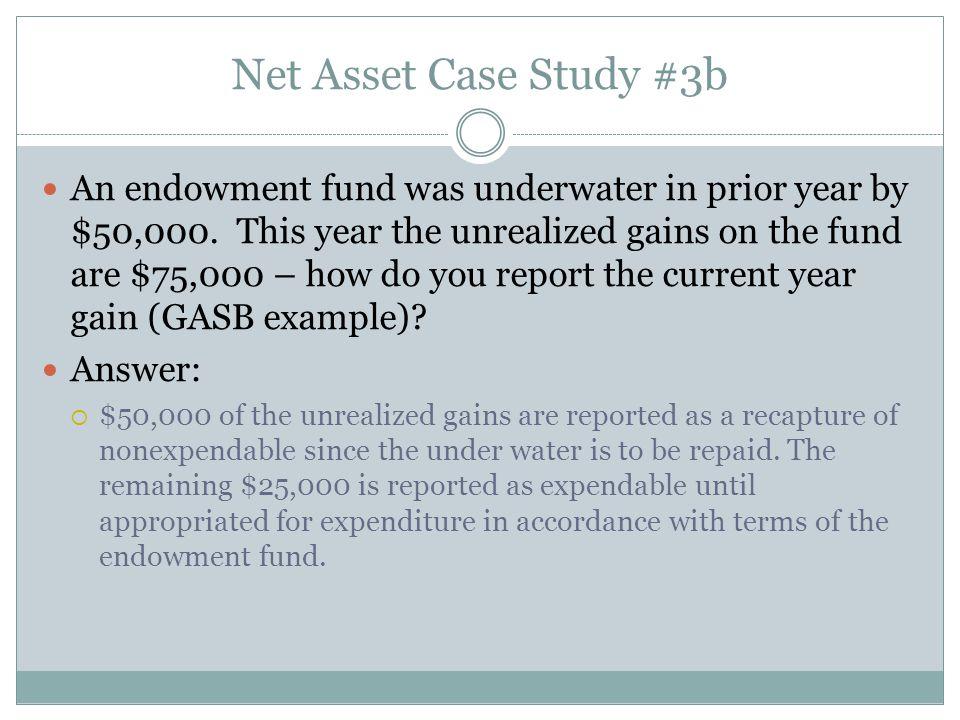 Net Asset Case Study #3b An endowment fund was underwater in prior year by $50,000.