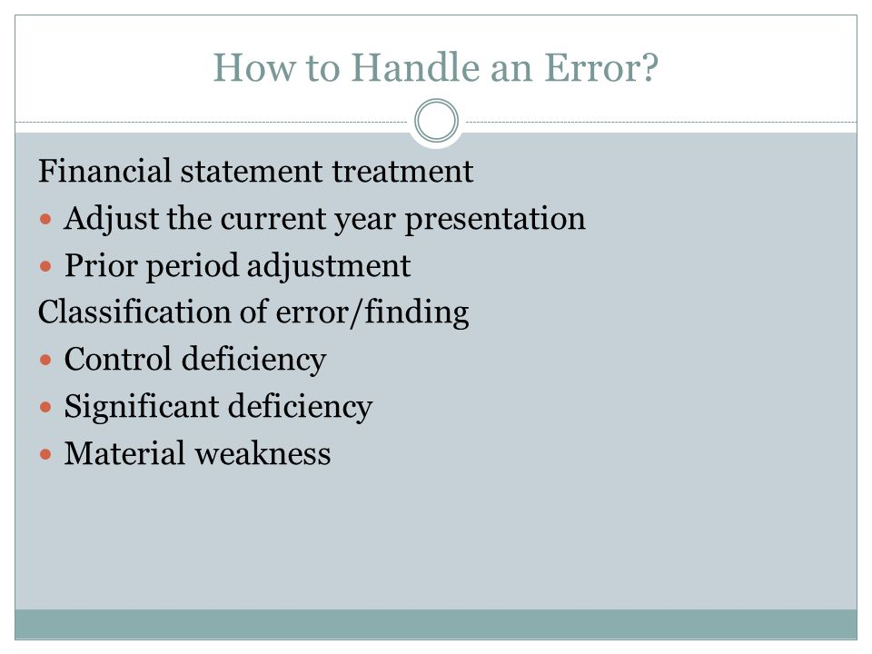 How to Handle an Error.