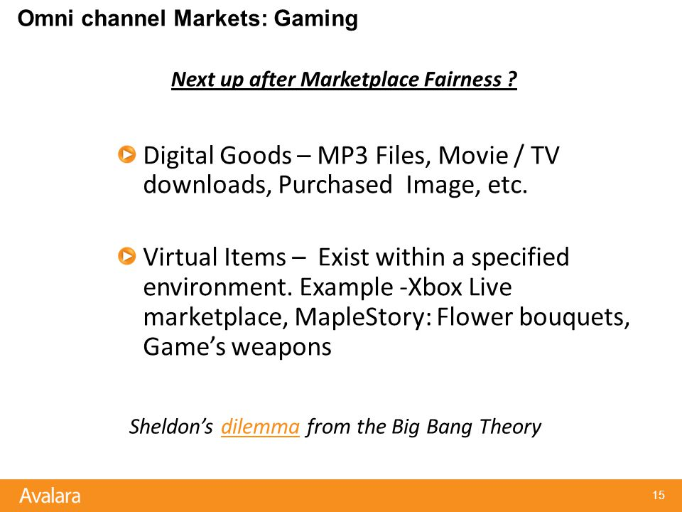 Omni channel Markets: Gaming Digital Goods – MP3 Files, Movie / TV downloads, Purchased Image, etc.