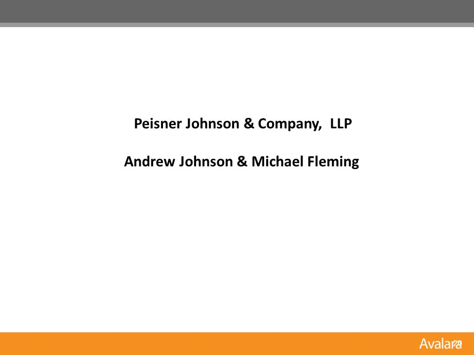 20 Peisner Johnson & Company, LLP Andrew Johnson & Michael Fleming