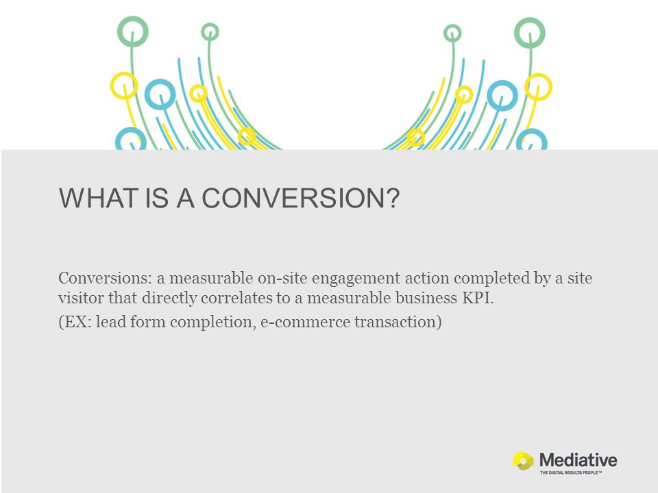 WHAT IS A CONVERSION? Conversions: a measurable on-site engagement action completed by a site visitor that directly correlates to a measurable busines