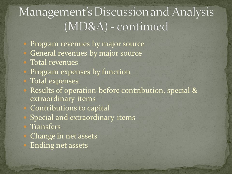 Program revenues by major source General revenues by major source Total revenues Program expenses by function Total expenses Results of operation before contribution, special & extraordinary items Contributions to capital Special and extraordinary items Transfers Change in net assets Ending net assets