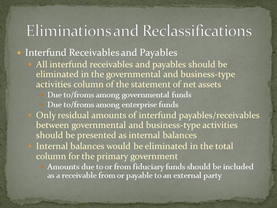 Interfund Receivables and Payables All interfund receivables and payables should be eliminated in the governmental and business-type activities column of the statement of net assets Due to/froms among governmental funds Due to/froms among enterprise funds Only residual amounts of interfund payables/receivables between governmental and business-type activities should be presented as internal balances Internal balances would be eliminated in the total column for the primary government Amounts due to or from fiduciary funds should be included as a receivable from or payable to an external party
