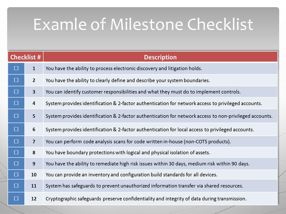 Examle of Milestone Checklist