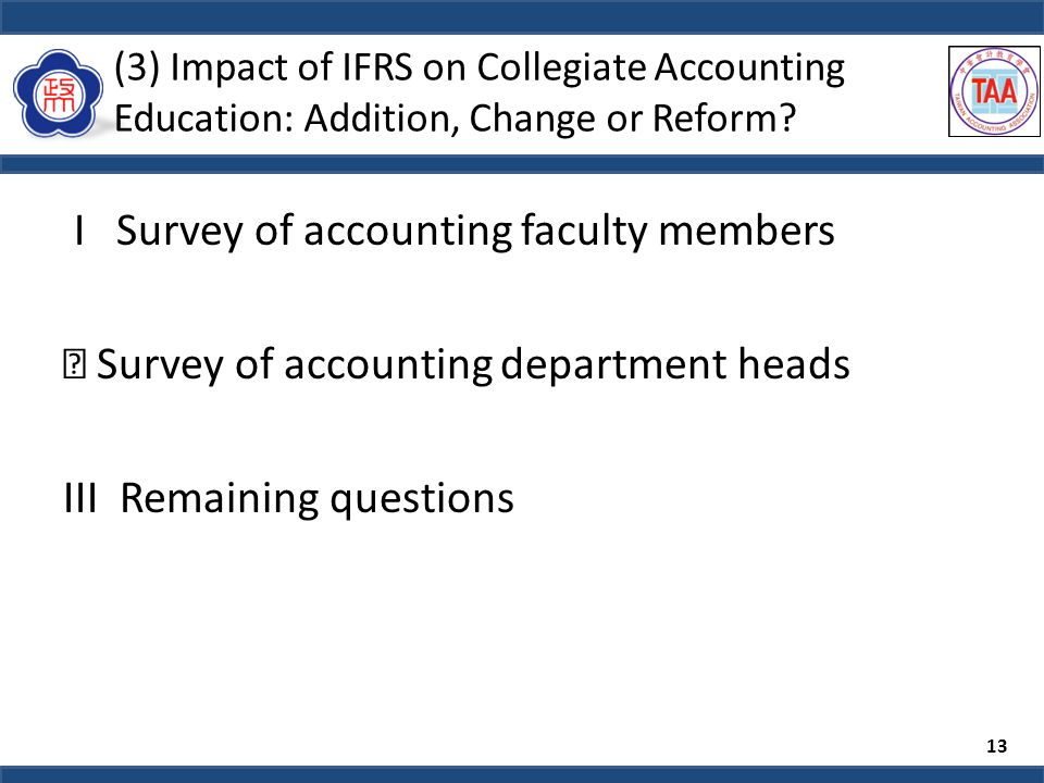 (3) Impact of IFRS on Collegiate Accounting Education: Addition, Change or Reform.