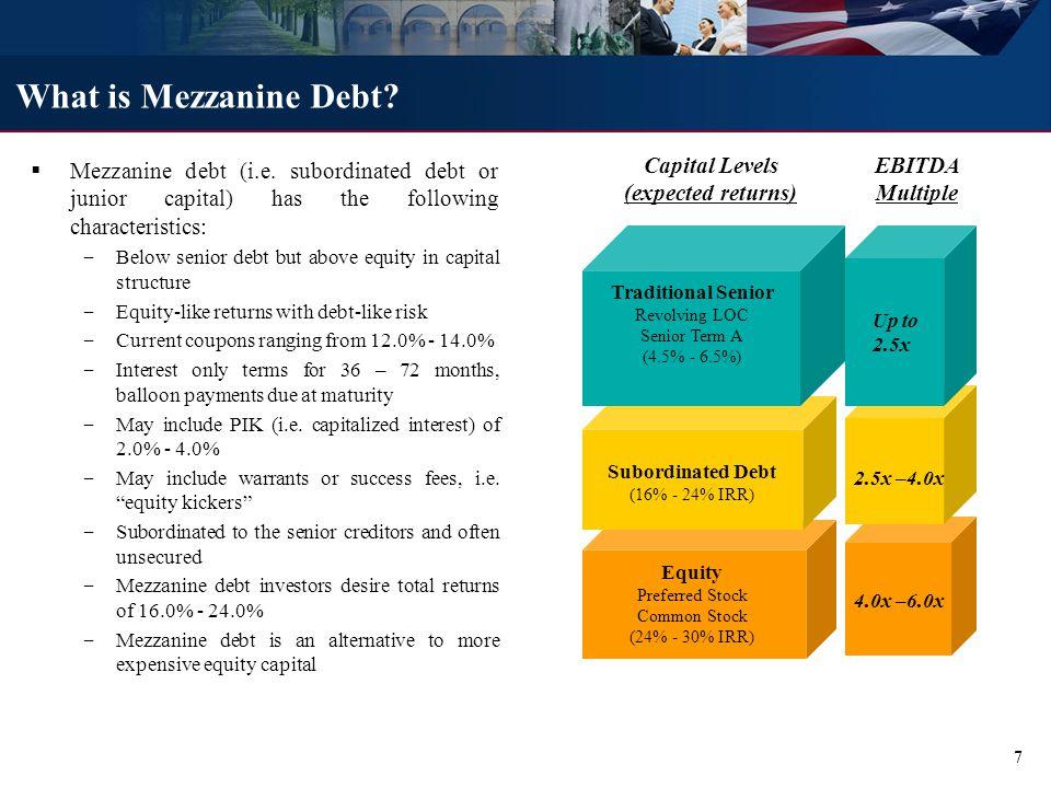 What is Mezzanine Debt. Mezzanine debt (i.e.