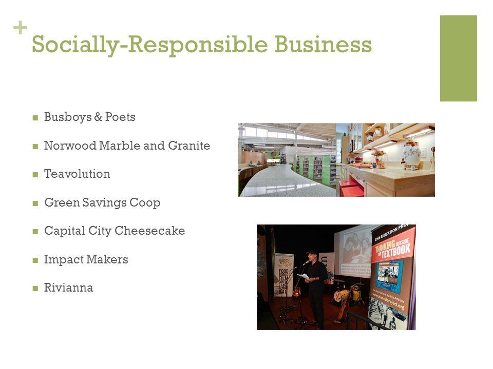 + Socially-Responsible Business Busboys & Poets Norwood Marble and Granite Teavolution Green Savings Coop Capital City Cheesecake Impact Makers Rivian