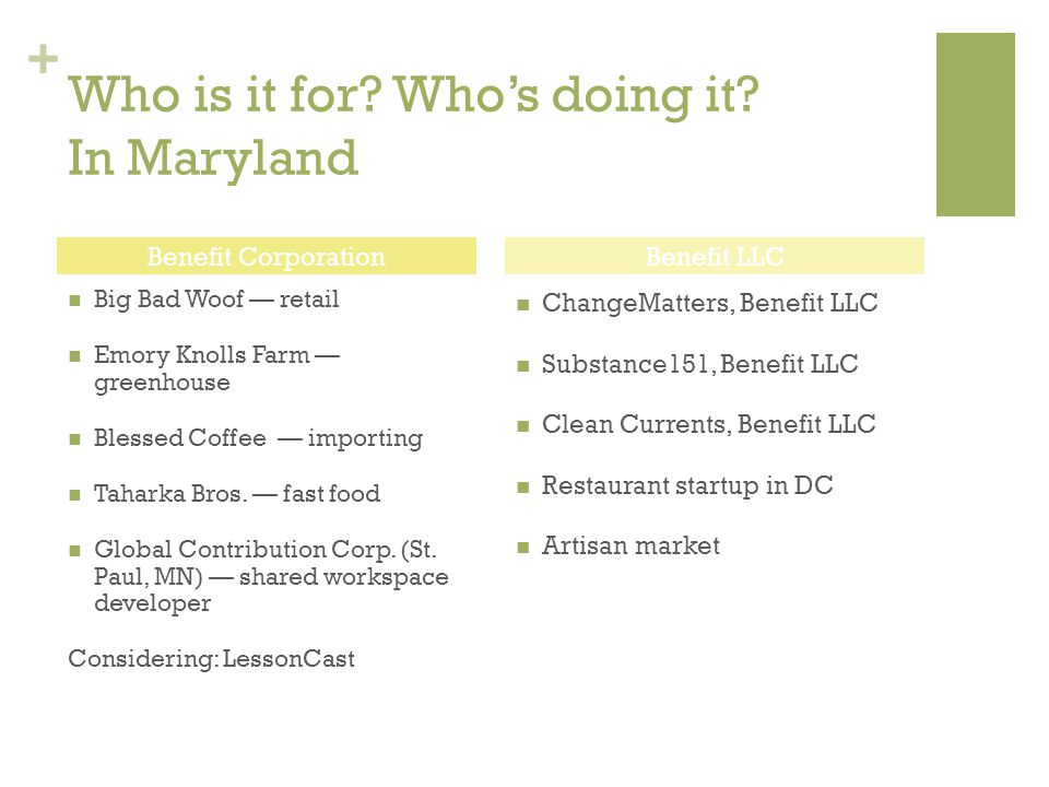 + Who is it for? Who's doing it? In Maryland Big Bad Woof — retail Emory Knolls Farm — greenhouse Blessed Coffee — importing Taharka Bros. — fast food
