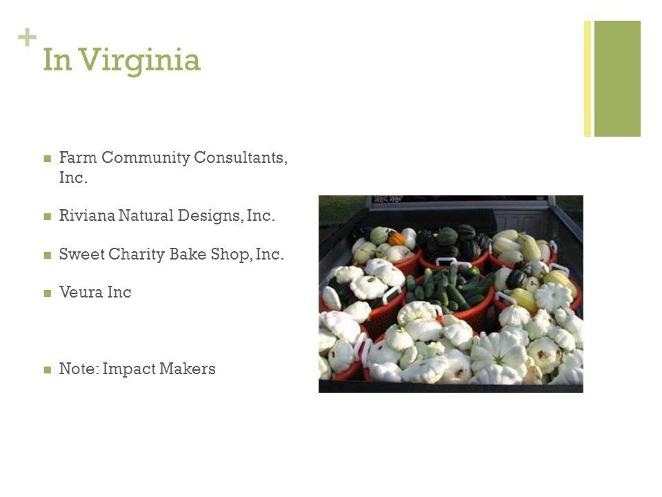 + In Virginia Farm Community Consultants, Inc. Riviana Natural Designs, Inc. Sweet Charity Bake Shop, Inc. Veura Inc Note: Impact Makers