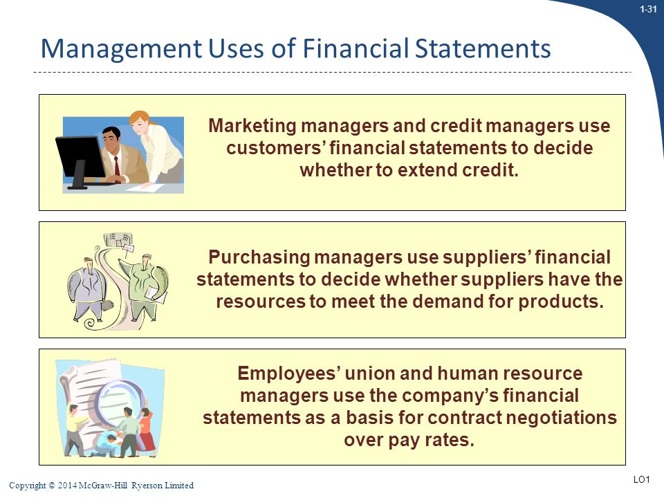 1-31 Copyright © 2014 McGraw-Hill Ryerson Limited Marketing managers and credit managers use customers' financial statements to decide whether to exte