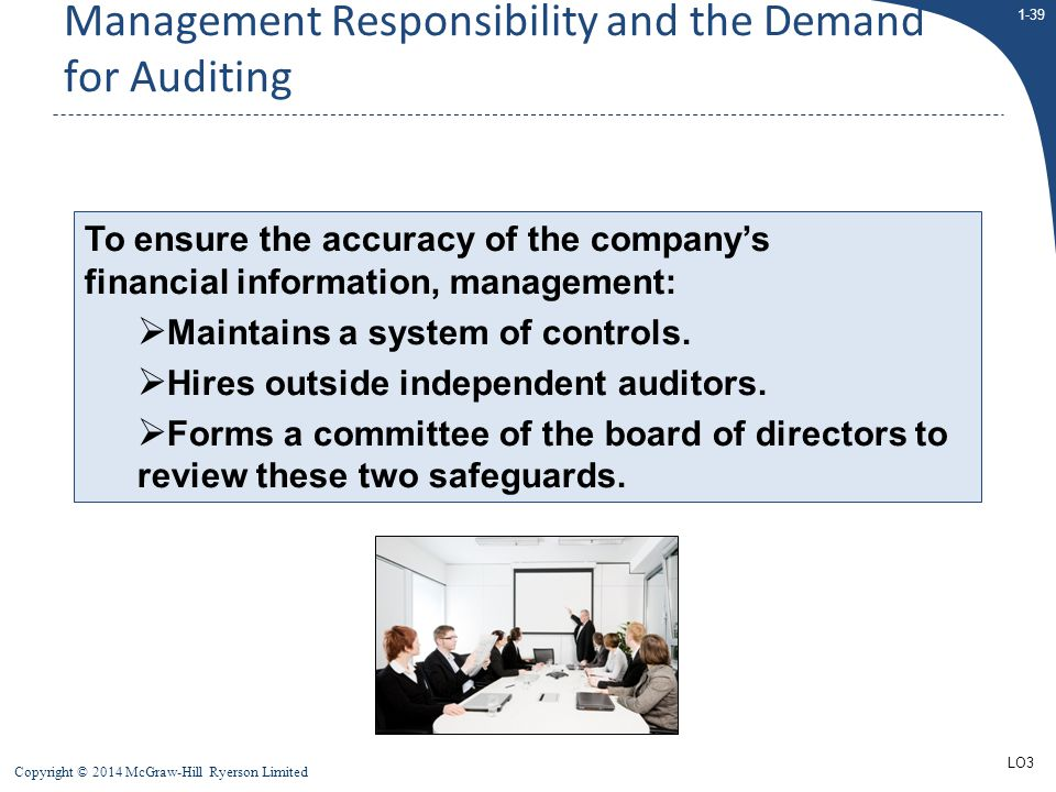 1-39 Copyright © 2014 McGraw-Hill Ryerson Limited To ensure the accuracy of the company's financial information, management:  Maintains a system of c