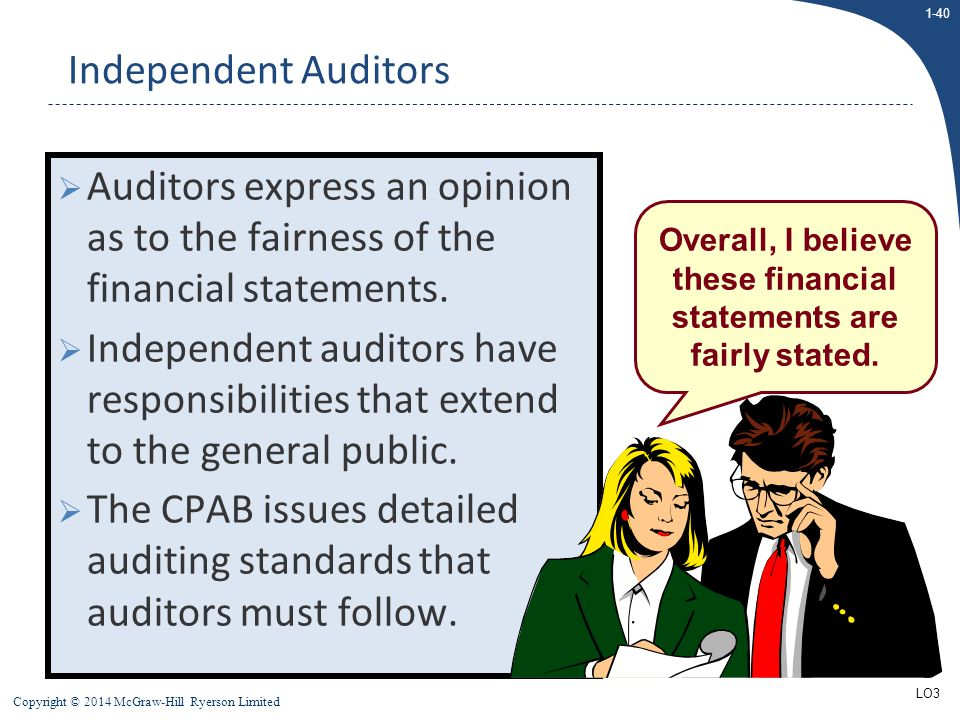 1-40 Copyright © 2014 McGraw-Hill Ryerson Limited  Auditors express an opinion as to the fairness of the financial statements.  Independent auditors