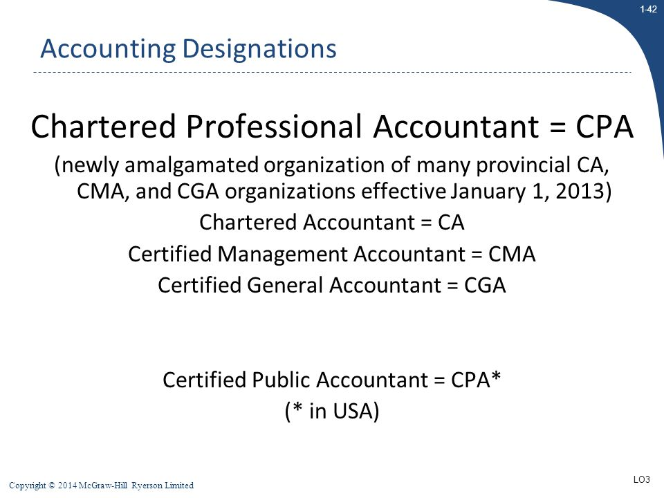 1-42 Copyright © 2014 McGraw-Hill Ryerson Limited Chartered Professional Accountant = CPA (newly amalgamated organization of many provincial CA, CMA,