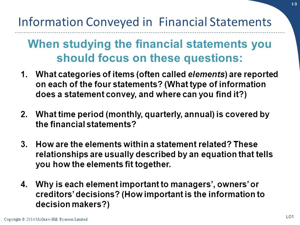 1-10 Copyright © 2014 McGraw-Hill Ryerson Limited External Financial Reporting  Financial statements are often referred to as having been prepared using GAAP (Generally Accepted Accounting Principles)  In Canada, GAAP can be either:  IFRS: International Financial Reporting Standards (IASB)  ASPE: Accounting Standards for Private Enterprise (AcSB)  Companies that trade their securities (debt or equity) in a public market are required to use IFRS  Those companies that do not meet the above criteria, have an option of using either IFRS or ASPE (most will chose ASPE because it is less complex)