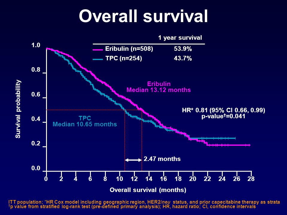 Overall survival (months) 0.0 0.2 0.4 0.6 0.8 1.0 0282624222018161412108642 Survival probability Overall survival Eribulin Median 13.12 months TPC Med