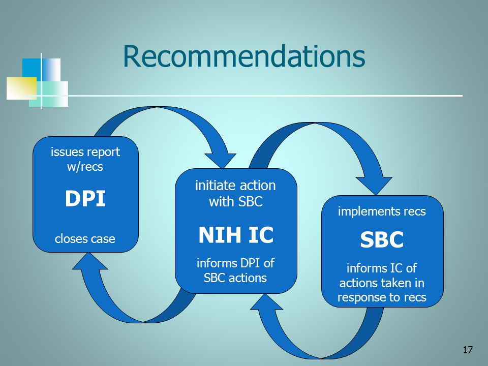 Recommendations 17 issues report w/recs DPI closes case implements recs SBC informs IC of actions taken in response to recs initiate action with SBC N