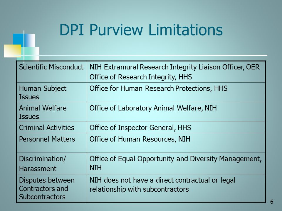 DPI Purview Limitations Scientific MisconductNIH Extramural Research Integrity Liaison Officer, OER Office of Research Integrity, HHS Human Subject Is