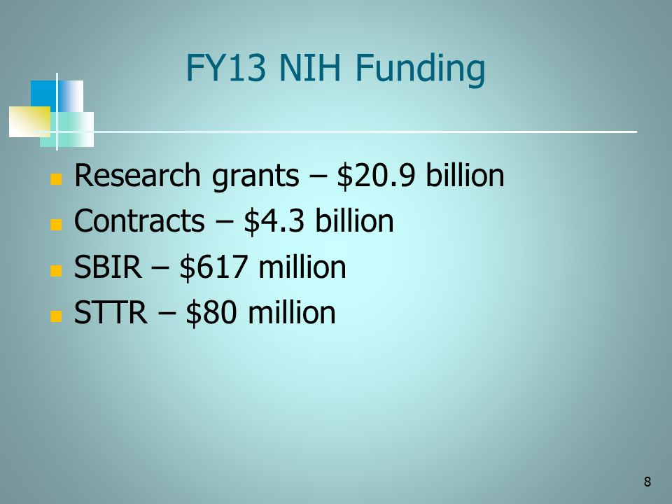 FY13 NIH Funding 8 Research grants – $20.9 billion Contracts – $4.3 billion SBIR – $617 million STTR – $80 million