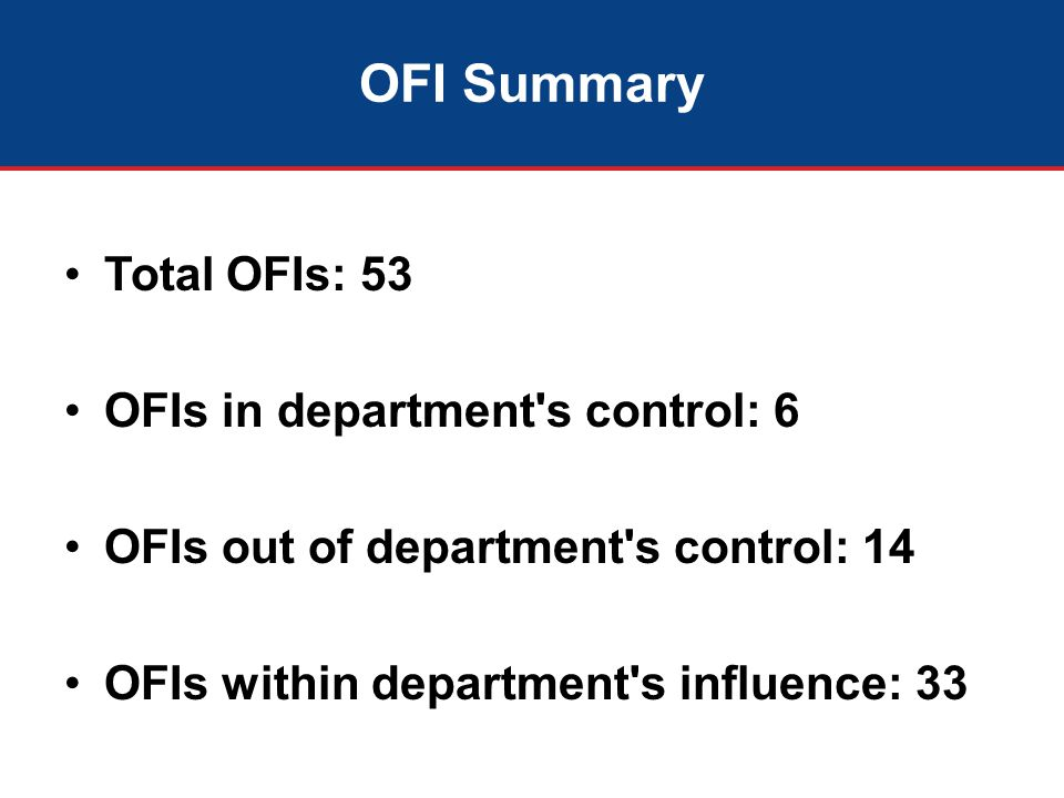 OFI Summary Total OFIs: 53 OFIs in department s control: 6 OFIs out of department s control: 14 OFIs within department s influence: 33