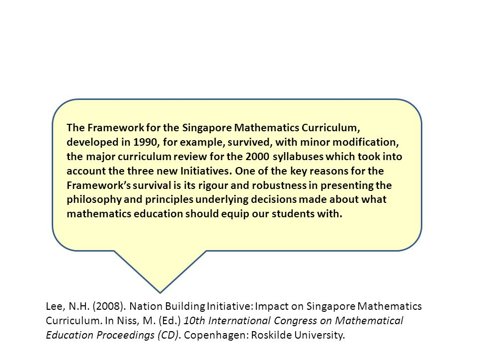 Lee, N.H. (2008). Nation Building Initiative: Impact on Singapore Mathematics Curriculum.