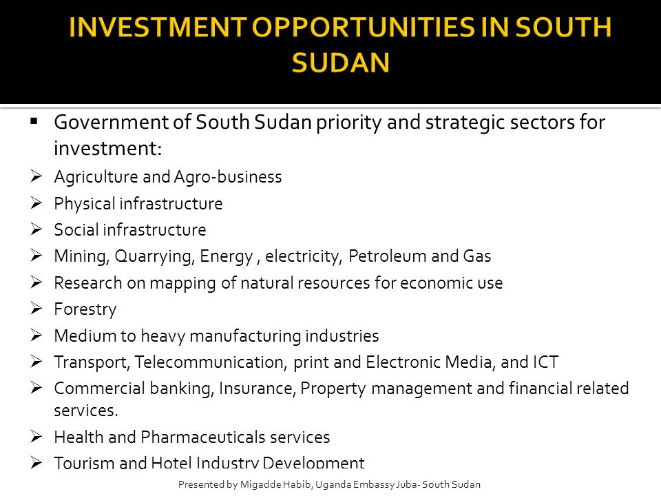 Presented by Uganda Consulate Juba- Southern Sudan  Government of South Sudan priority and strategic sectors for investment:  Agriculture and Agro-business  Physical infrastructure  Social infrastructure  Mining, Quarrying, Energy, electricity, Petroleum and Gas  Research on mapping of natural resources for economic use  Forestry  Medium to heavy manufacturing industries  Transport, Telecommunication, print and Electronic Media, and ICT  Commercial banking, Insurance, Property management and financial related services.