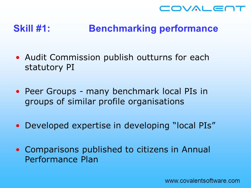 www.covalentsoftware.com Audit Commission publish outturns for each statutory PI Peer Groups - many benchmark local PIs in groups of similar profile organisations Developed expertise in developing local PIs Comparisons published to citizens in Annual Performance Plan Skill #1:Benchmarking performance