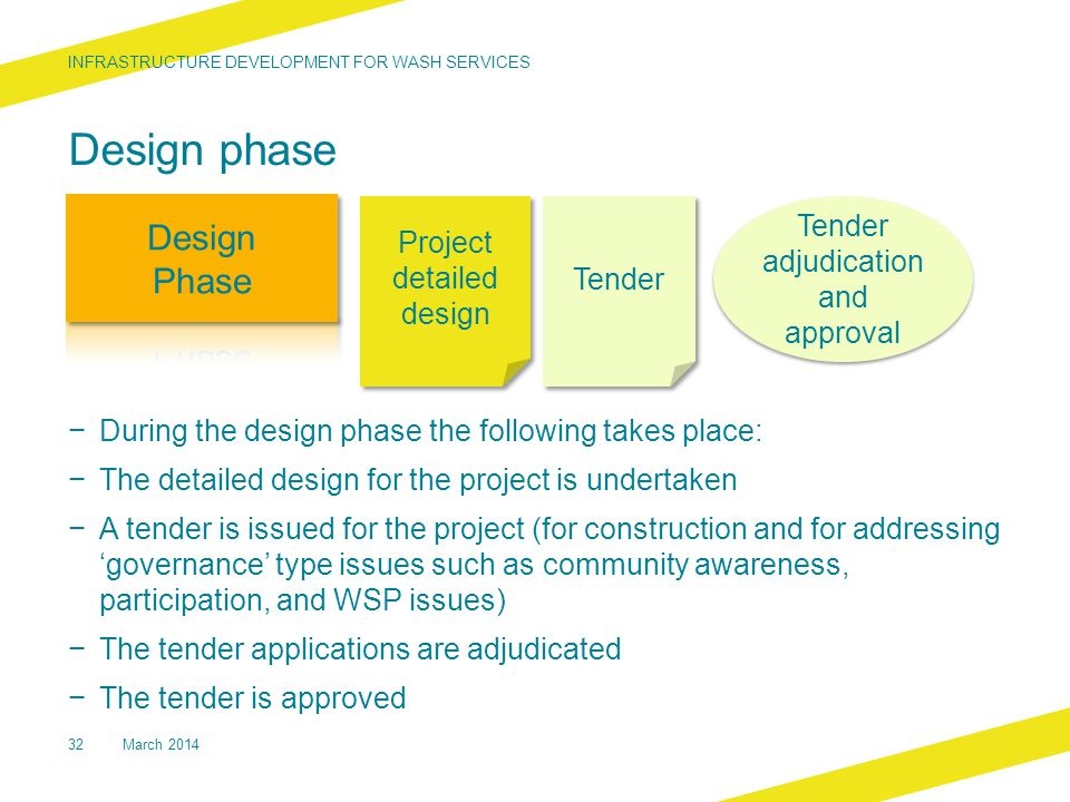 Design phase − During the design phase the following takes place: − The detailed design for the project is undertaken − A tender is issued for the project (for construction and for addressing 'governance' type issues such as community awareness, participation, and WSP issues) − The tender applications are adjudicated − The tender is approved INFRASTRUCTURE DEVELOPMENT FOR WASH SERVICES 32 Project detailed design Project detailed design Tender Tender adjudication and approval March 2014