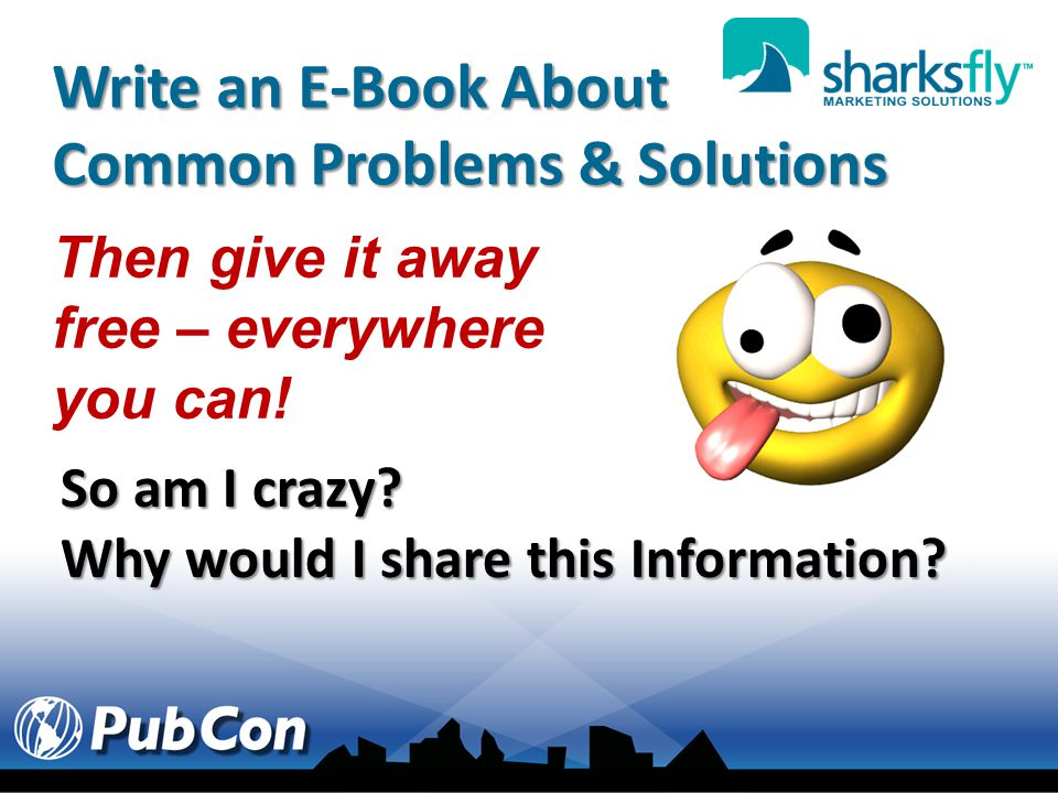 Write an E-Book About Common Problems & Solutions Then give it away free – everywhere you can.