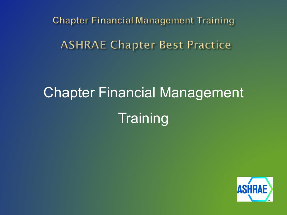 Chapter Financial Management Training