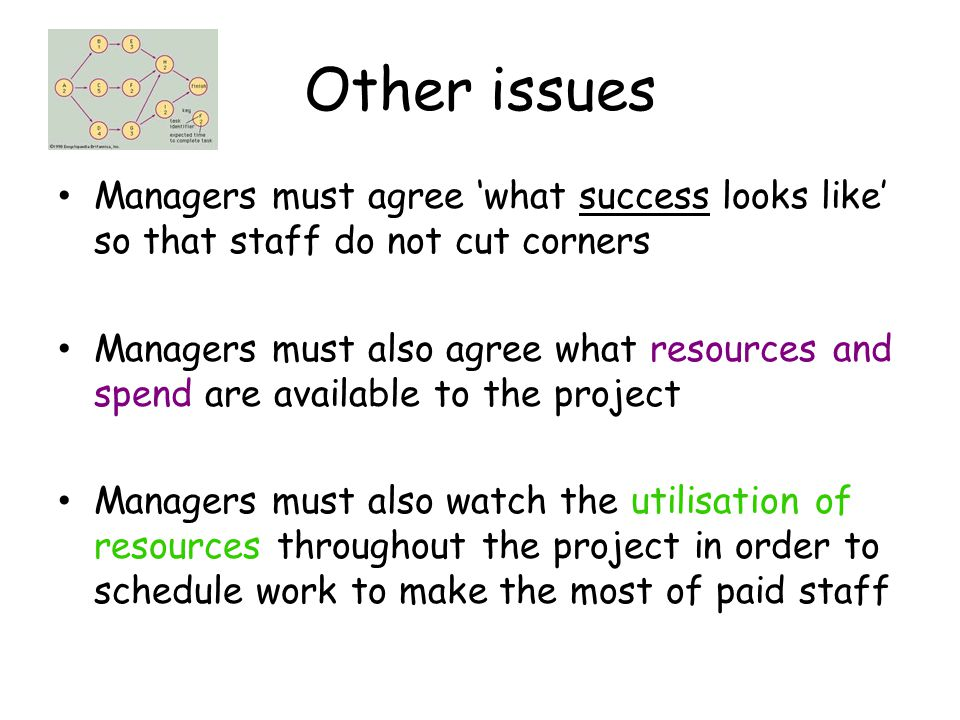 Other issues Managers must agree 'what success looks like' so that staff do not cut corners Managers must also agree what resources and spend are avai