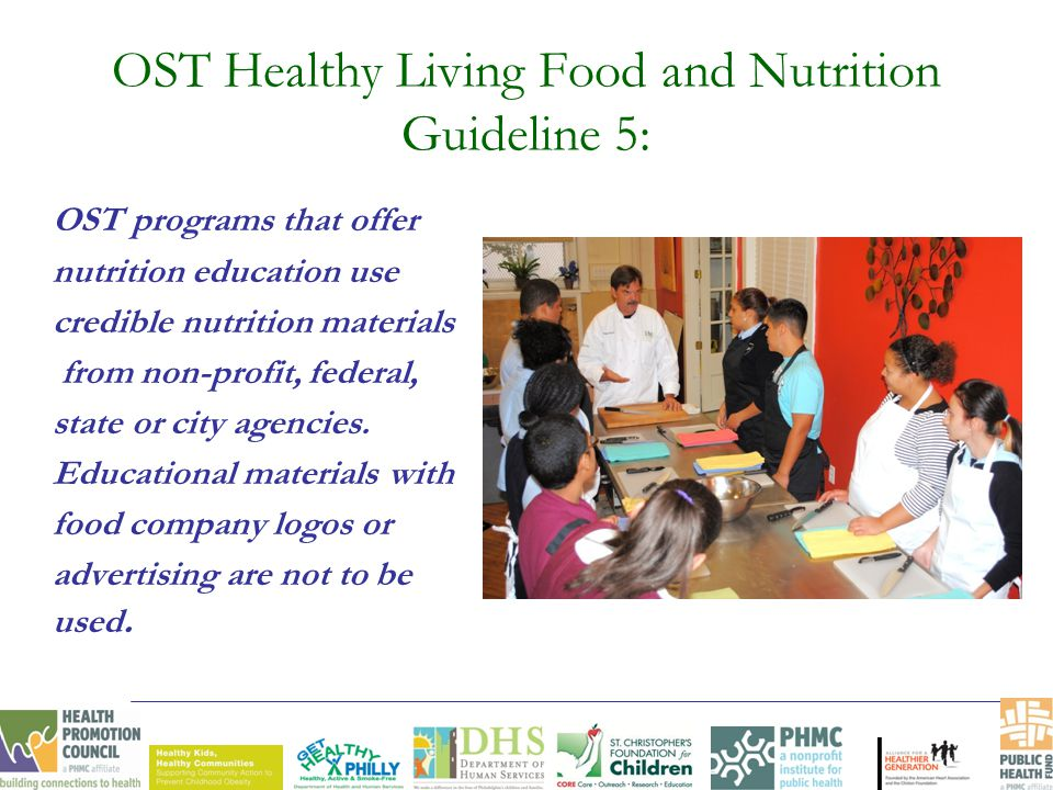 OST Healthy Living Food and Nutrition Guideline 5: OST programs that offer nutrition education use credible nutrition materials from non-profit, federal, state or city agencies.