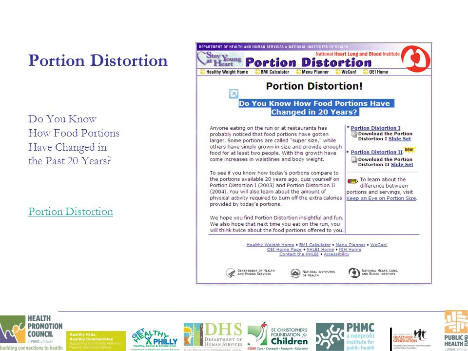 Portion Distortion Do You Know How Food Portions Have Changed in the Past 20 Years? Portion Distortion