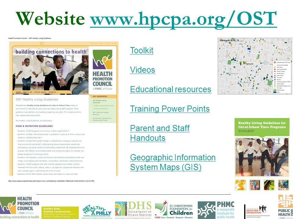 Website www.hpcpa.org/OSTwww.hpcpa.org/OST Toolkit Videos Educational resources Training Power Points Parent and Staff Handouts Geographic Information