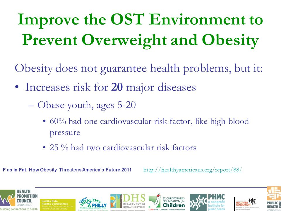 Obesity does not guarantee health problems, but it: Increases risk for 20 major diseases –Obese youth, ages 5-20 60% had one cardiovascular risk facto